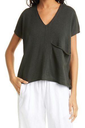 Eileen Fisher Women's Short Sleeve Organic Linen & Cotton Boxy Sweater