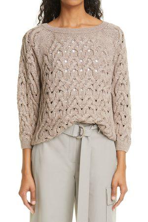 Lafayette 148 New York Women's Sequin Infinity Cable Metallic Sweater