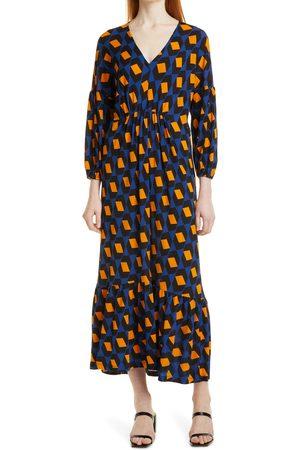 DVF Women's Ebony Geo Print Long Sleeve Maxi Dress