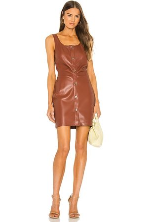 Nanushka Vegan Leather Ernie Dress in Brown.