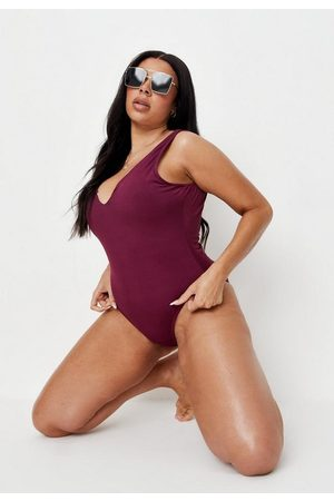 Missguided Women Swimsuits - Plus Size Plum Rib Notch Neck High Leg Swimsuit
