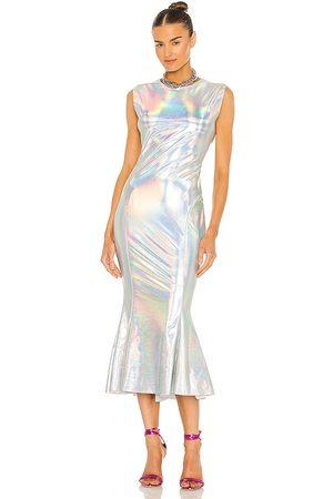 Norma Kamali X REVOLVE Sleeveless Midi Crew Fishtail Dress in Metallic Silver.