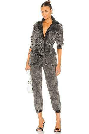 Norma Kamali Turtle Cargo Jumpsuit in Charcoal.