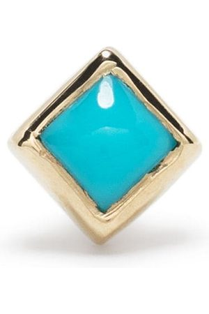 Metier by Tom Foolery 9kt yellow princess cut turquoise stud earring