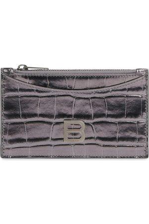 Balenciaga Logo-plaque crocodile-effect purse