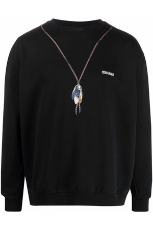 MARCELO BURLON Men Sweatshirts - Feather-print sweatshirt