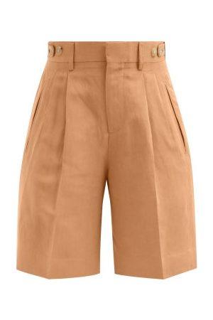 Umit Benan B+ Richard Pleated Slubbed-poplin Suit Shorts - Womens
