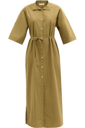 Frame Women Casual Dresses - Side-slit Cotton-poplin Shirt Dress - Womens - Khaki