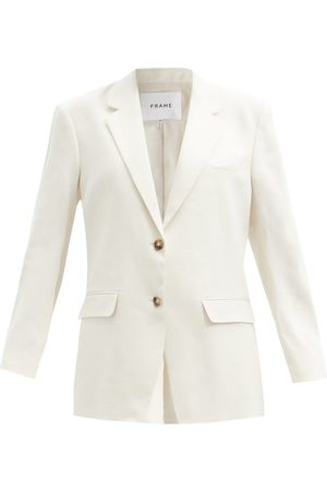 Frame Women Blazers - Grandfather Linen-blend Twill Blazer - Womens - / Ivory