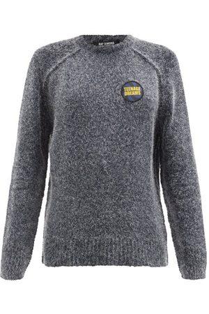 RAF SIMONS Logo-patch Lurex Sweater - Womens - Dark Navy