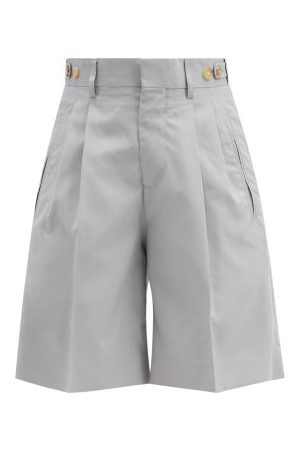 Umit Benan B+ Richard Pleated Silk Suit Shorts - Womens - Light