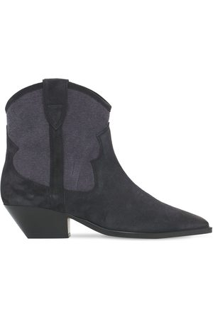 Isabel Marant 40mm Demar Canvas & Suede Ankle Boots