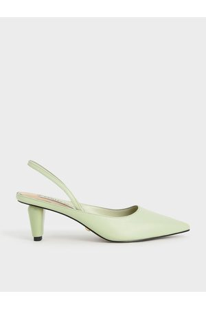 CHARLES & KEITH Women Heeled Pumps - Leather Sculptural Heel Slingback Pumps