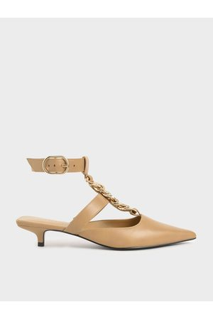 CHARLES & KEITH Women Heels - Chain Link Ankle Strap Pumps