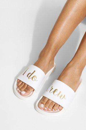 Boohoo Women Sandals - Womens I Do Crew Slogan Sliders - - 5