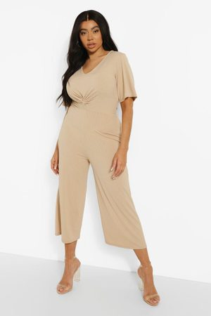 Boohoo Womens Plus Rib Twist Front Culotte Jumpsuit - - 12