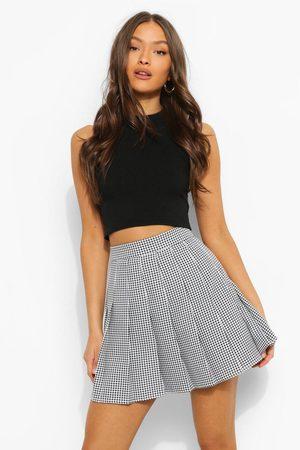 Boohoo Womens Gingham Woven Pleated Super Mini Tennis Skirt - - 2