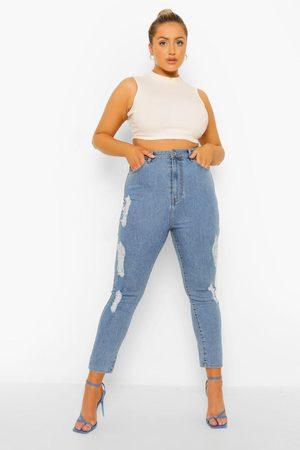 Boohoo Women High Waisted - Womens Plus High Rise Super Distressed Skinny Jean - - 12