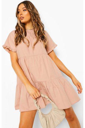 Boohoo Womens Cotton Ruffle Sleeve Smock Dress - - 4