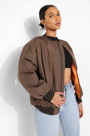 Boohoo Womens Contrast Lined Bomber Jacket - - 4