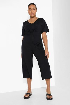 Boohoo Women Culottes - Womens Plus Rib Twist Front Culotte Jumpsuit - - 12