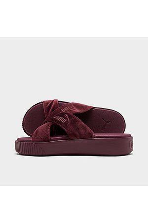 PUMA Women's Velvet Platform Slide Sandals in /Zinfandel
