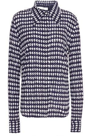 Victoria Beckham Women Long sleeves - Woman Houndstooth Jersey Shirt Navy Size 14