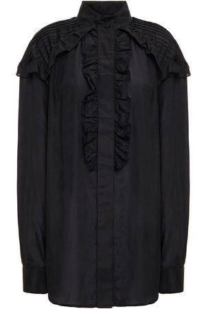 Victoria Beckham Woman Ruffled Cotton And Silk-blend Blouse Size 12