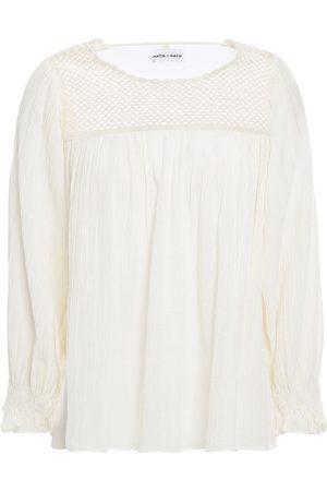 Antik Batik Woman Usher Open Knit-paneled Cotton-gauze Blouse Ivory Size 36