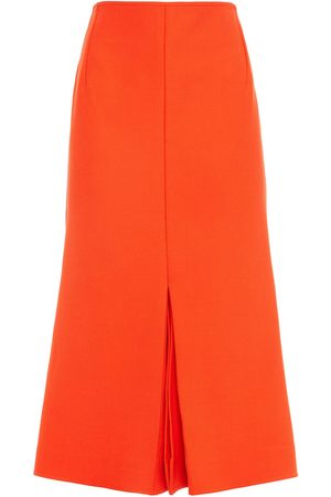 Victoria Beckham Woman Pleated Crepe Midi Skirt Bright Size 10