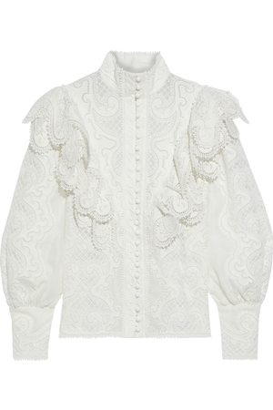 ZIMMERMANN Woman Glassy Wave Ruffled Guipure Lace And Linen And Silk-blend Blouse Off- Size 0