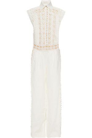 ZIMMERMANN Woman Moncur Studded Broderie Anglaise Cotton And Linen Wide-leg Jumpsuit Off- Size 0