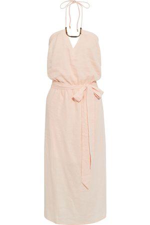 VIX PAULA HERMANNY Woman Thai Belted Embellished Linen-blend Halterneck Midi Dress Pastel Size L