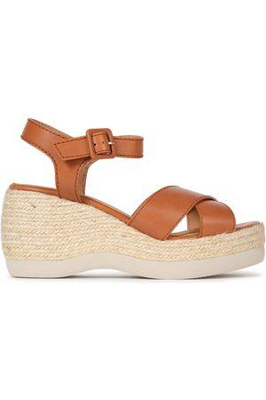 Castaner Castañer Woman Xise Leather Espadrille Wedge Sandals Light Size 37
