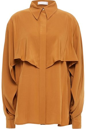 Victoria Beckham Woman Layered Silk Crepe De Chine Shirt Tan Size 10