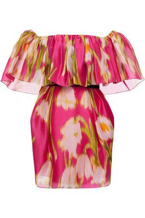 Carolina Herrera Woman Off-the-shoulder Ruffled Printed Silk Mini Dress Fuchsia Size 2
