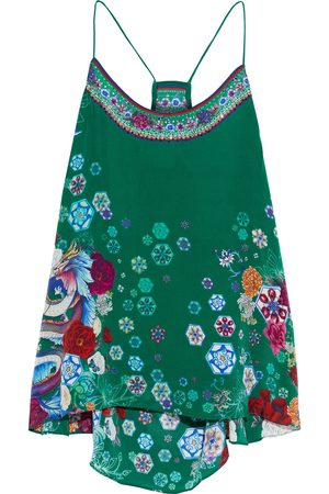 Camilla Woman Crystal-embellished Floral-print Silk Crepe De Chine Camisole Size S