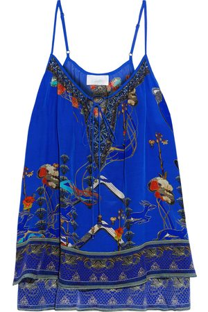 Camilla Woman Crystal-embellished Printed Silk Crepe De Chine Camisole Royal Size S