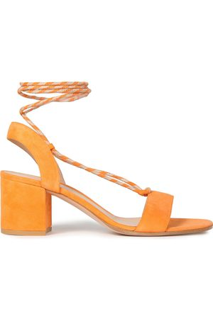 Gianvito Rossi Woman Antibes 60 Lace-up Suede Sandals Saffron Size 37