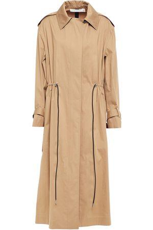 Victoria Beckham Woman Gathered Cotton-blend Gabardine Trench Coat Camel Size 1