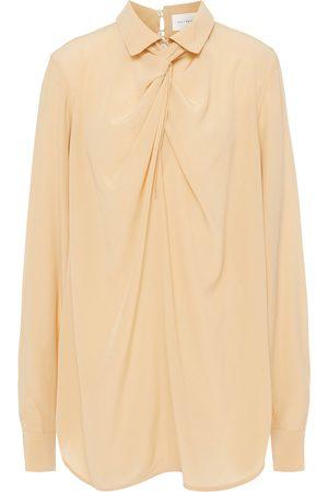 Victoria Beckham Woman Twisted Silk Crepe De Chine Blouse Neutral Size 10