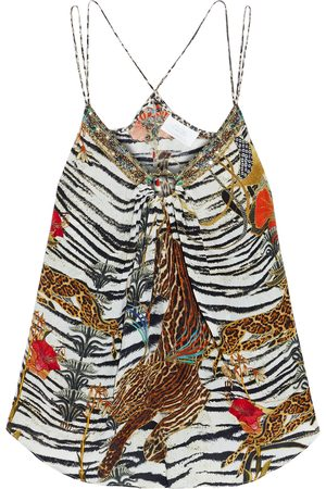 Camilla Woman Ring-embellished Printed Silk Crepe De Chine Camisole Animal Print Size S