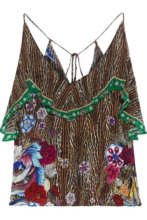 Camilla Woman Ruffled Georgette-paneled Printed Silk Crepe De Chine Camisole Animal Print Size S