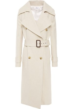 Victoria Beckham Woman Leather-trimmed Belted Cotton And Linen-blend Canvas Trench Coat Ecru Size 8