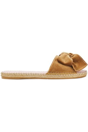 MANEBI Manebí Woman Hamptons Bow-embellished Velvet Espadrille Slides Camel Size 36