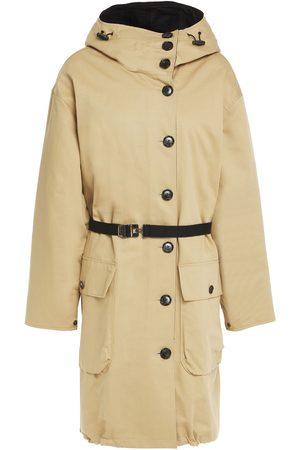 Marni Woman Cotton And Linen-blend Gabardine Hooded Coat Sand Size M