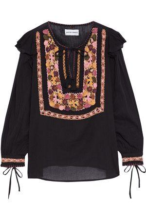 Antik Batik Woman Lova Crochet-trimmed Crinkled Cotton-voile Blouse Size 36