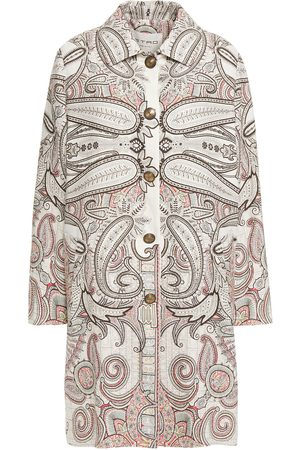 Etro Woman Printed Linen Silk And Cotton-blend Crepe Coat Off- Size 40