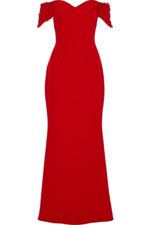 Badgley Mischka Woman Off-the-shoulder Embellished Stretch-crepe Gown Size 10