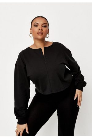 Missguided Women Sweatshirts - Plus Size Inserted Zip Cropped Sweatshirt
